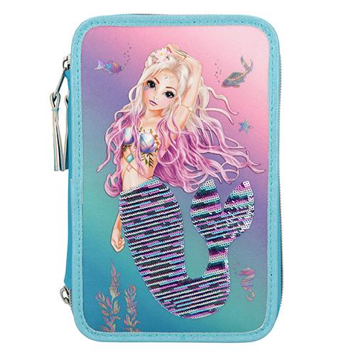 Top Model Penál s výbavou Fantasy Model Mořská panna, ocas s flitry, tyrkysovo-růžová