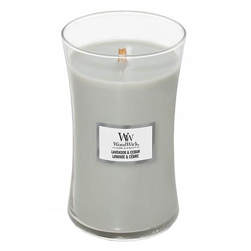 Svíčka oválná váza WoodWick Levandule a cedr, 609.5 g