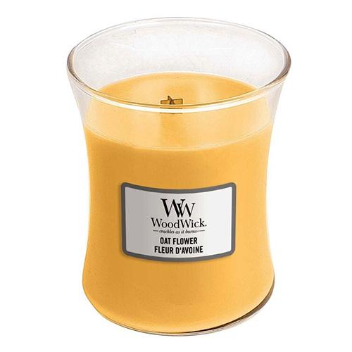 Svíčka oválná váza WoodWick Ovesný květ, 275 g