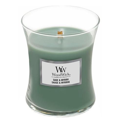 Svíčka oválná váza WoodWick Šalvěj a myrha, 275 g