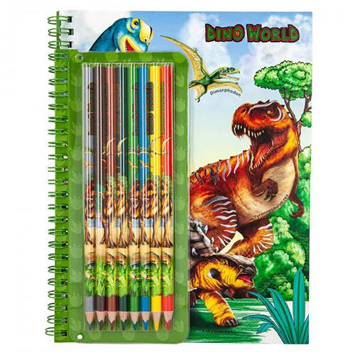 Omalovánky Dino World Dinosauři, 6 pastelek