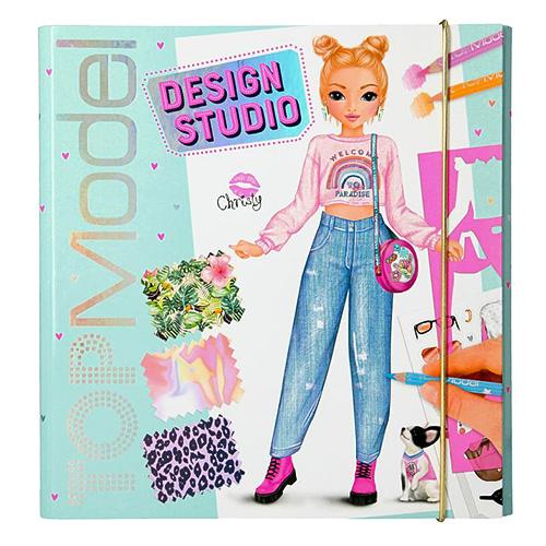 Omalovánka   Top Model Design Studio Christy, v deskách, se samolepkami, šablonami a vzory látek