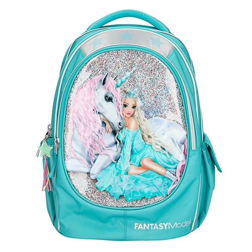 Top Model Školní batoh Fantasy Model Světle modrý, víla + jednorožec, s flitry
