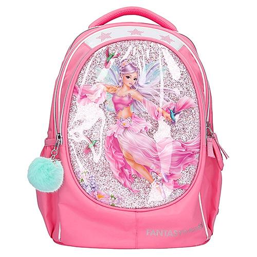 Školní batoh Fantasy Model Růžový, s vílou a kolibříky, s flitry, přívěsek mentolová ba