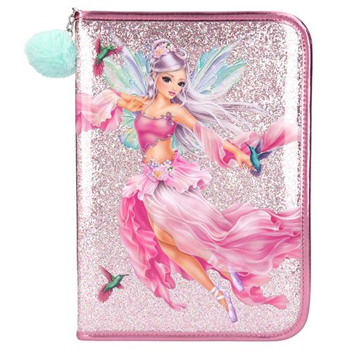 Velký penál s výbavou Top Model Růžový patent, s vílou a kolibříky, s flitry, přívěsek mento