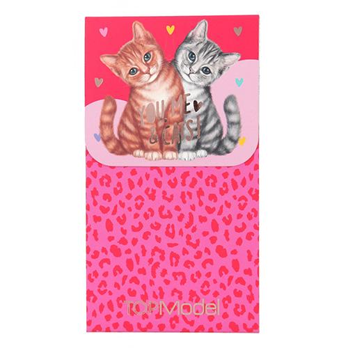 Blok Top Model ASST Kočičky, leopardí červeno-růžový