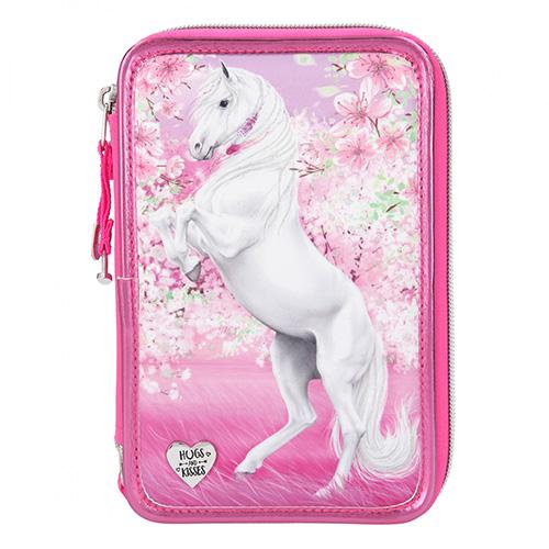 Penál s výbavou Miss Melody 3 patra, růžový, rozkvetlé třešně