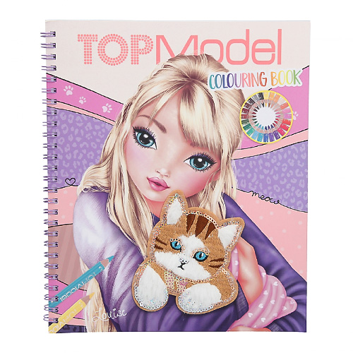 Omalovánka   Top Model Colouring Book Louise a kotě - nášivka