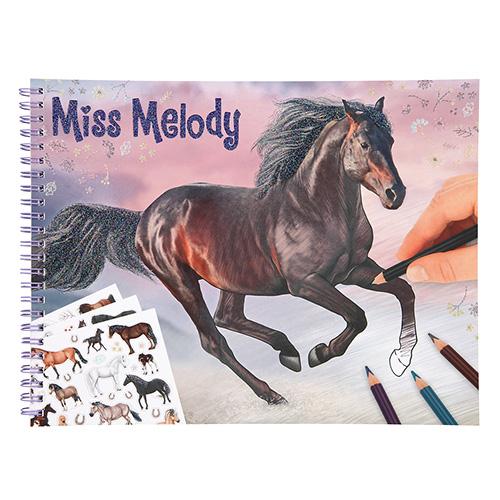 Omalovánka | Miss Melody Hnědý kůň v běhu, se samolepkami