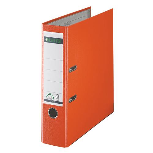 Šanon A4 Leitz oranžový, šířka hřbetu 8 cm, plastový