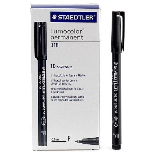 Popisovač Staedtler černý, permanentní, šířka hrotu 0,6 mm, 10 ks
