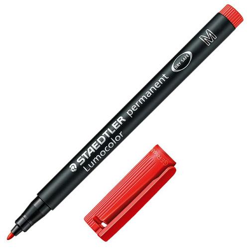 Popisovač Staedtler červený, permanentní, šířka hrotu 1 mm