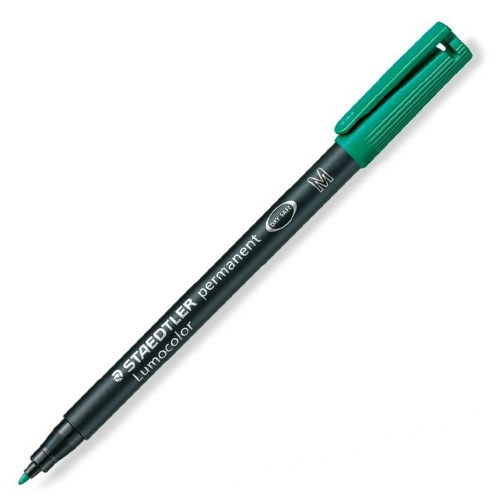 Popisovač Staedtler zelený, permanentní, šířka hrotu 1 mm