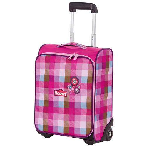 Dětský kufr trolley Scout Flowery Island, růžové kostky