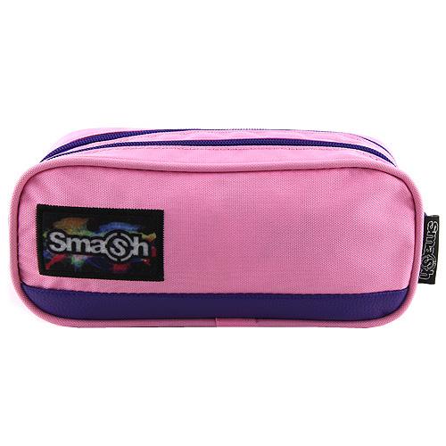 Školní penál bez náplně Smash růžový s fialovým lemováním