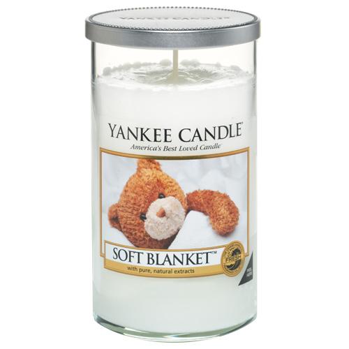 Svíčka ve skleněném válci Yankee Candle Jemná přikrývka, 340 g