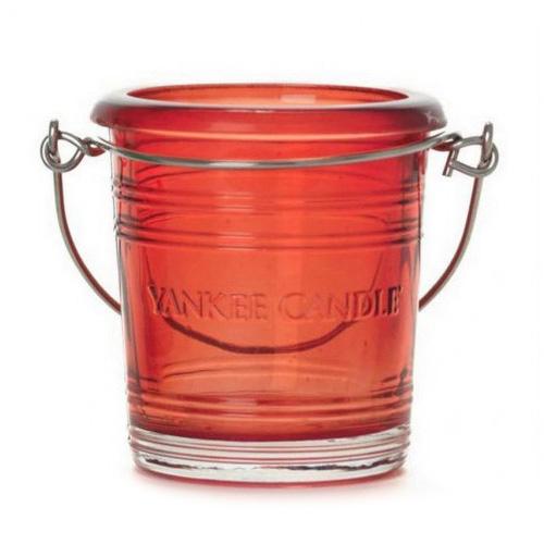 Svícen skleněný Yankee Candle Glass Bucket, výška 6.5 cm, červený