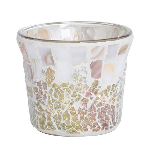 Svícen skleněný Yankee Candle Perleťově-zlatý, na votivní svíčku