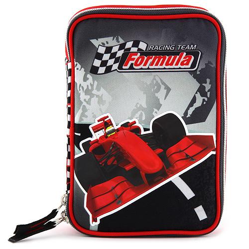 Školní penál s náplní Target Formule, barva černo-červená