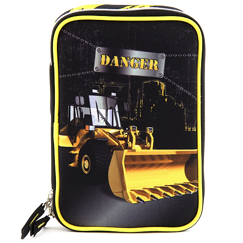 Školní penál s náplní Target Danger buldozer, barva černá