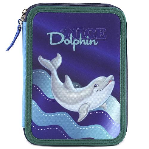 Školní penál s náplní Target Dolphin, fialovo-modrá