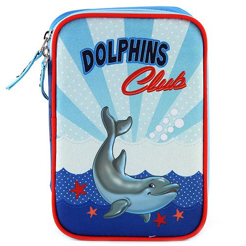 Školní penál s náplní Target Dolphins Club, barva modrá