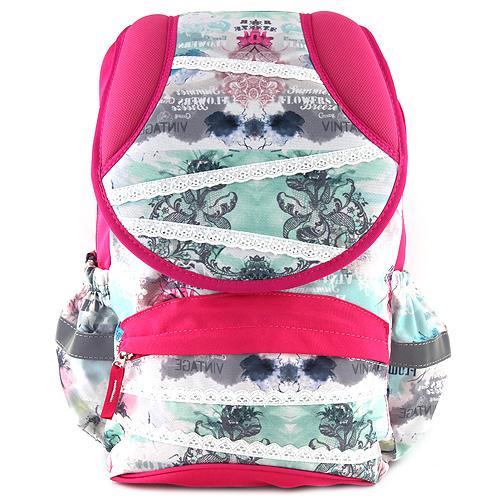 Školní batoh Target Bílá krajka, šedé květy