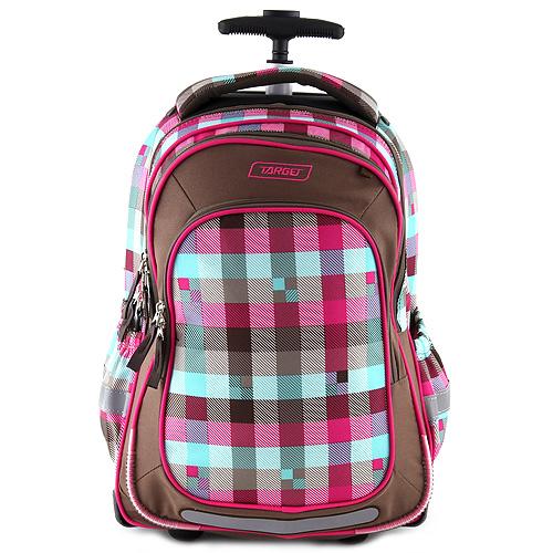 Školní batoh trolley Target Růžové/zelené/hnědé kostky