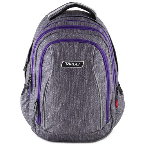 Školní batoh 2v1 Target Šedý s fialovými zipy