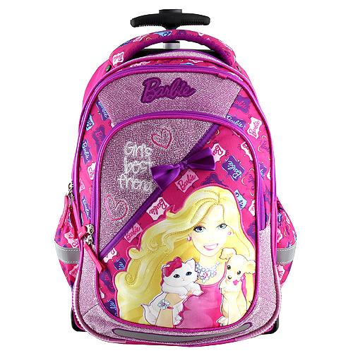 Školní batoh trolley Target Barbie, barva růžová