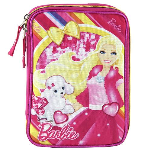 Školní penál s náplní Target Barbie s pejskem, barva růžová