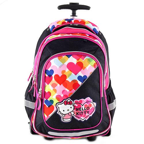 Školní batoh trolley Target Hello Kitty, modrý, barevná srdce