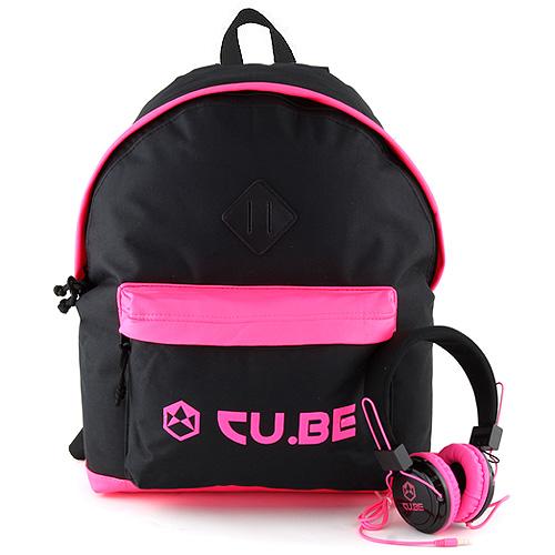 Target Batoh se sluchátky CU.BE Černý s neonově růžovými doplňky