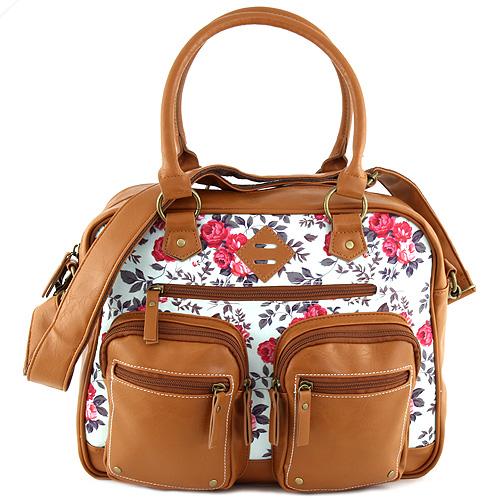 Taška přes rameno Target Marshmallow/růžové květy, hnědá koženka