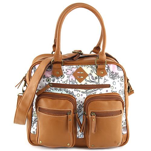 Taška přes rameno Target Marshmallow/květinový vzor, hnědá koženka