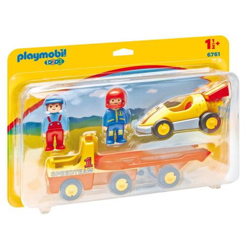 Závodní auto s přívěsem Playmobil 1.2.3, 4 ks