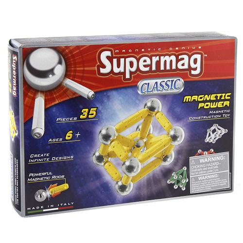 Magnetická stavebnice Supermag Vojensky zelená, 35 dílků