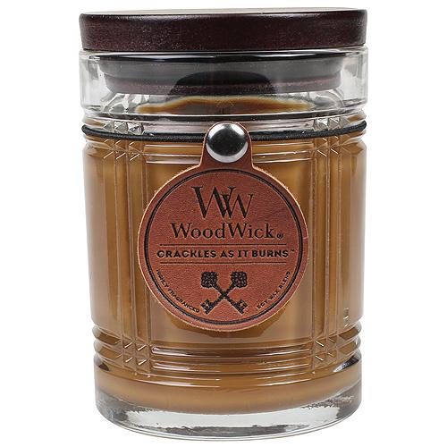 Svíčka skleněná váza WoodWick Tabákové listy, 226.8 g