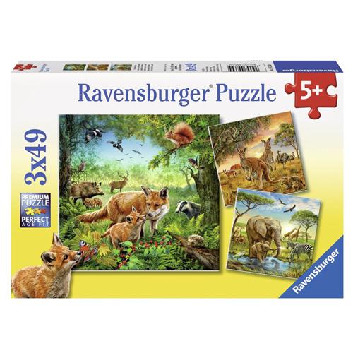 Puzzle Ravensburger Země živočichů, 3 x 49 dílků