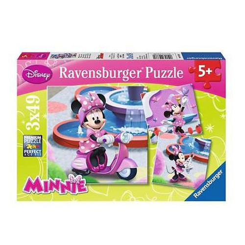 Puzzle Ravensburger Minnie v parku, 3 x 49 dílků