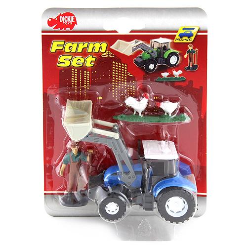 Traktor a farmář Dickie Modrý, 13 cm