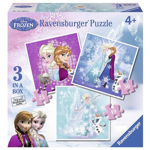 Puzzle Ravensburger Ledové království - 3 v 1 -  25, 36 a 49 dílků