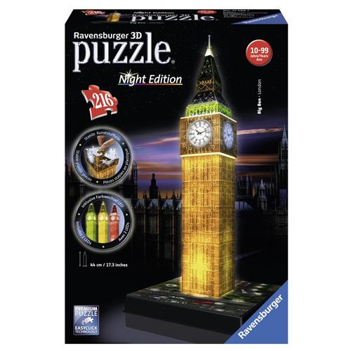 3D Puzzle Ravensburger Big Ben, 216 dílků Noční edice