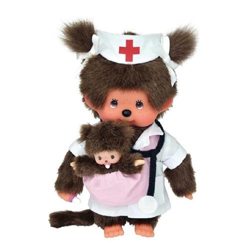 Plyš Monchhichi Zdravotní sestra s miminkem, 20 cm