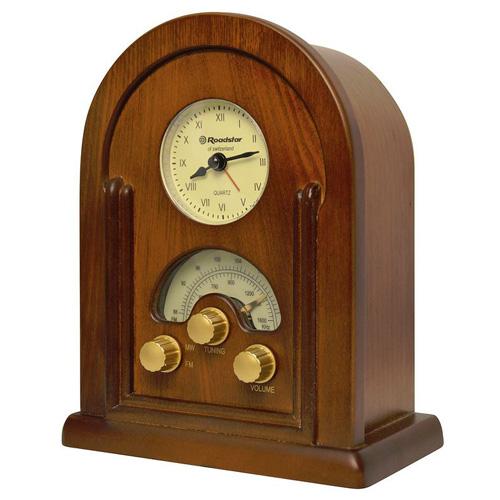 Dřevěné rádio Roadstar HRA-1430, s quartz hodinami