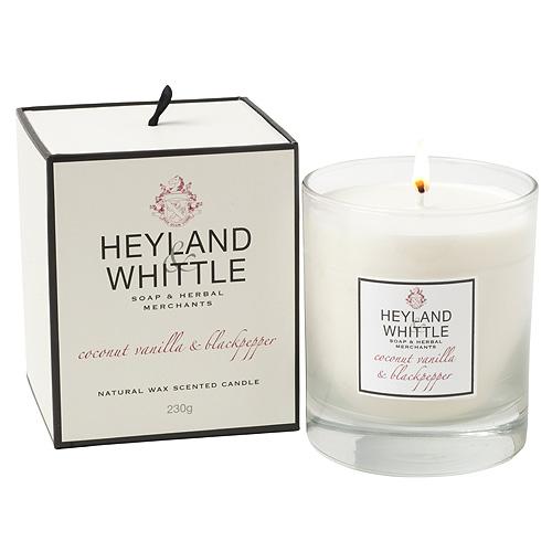 Fotografie Svíčka skleněná váza Heyland & Whittle Kokos, vanilka a černý pepř, 230 g