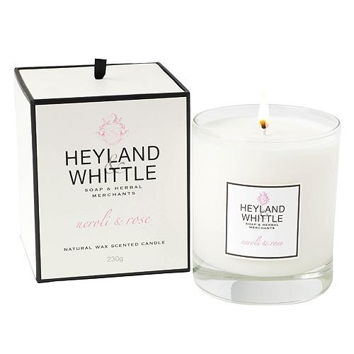 Svíčka skleněná váza Heyland & Whittle Neroli a růže, 230 g