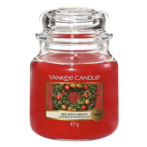 Svíčka ve skleněné dóze Yankee Candle Věnec z červených jablíček, 410 g