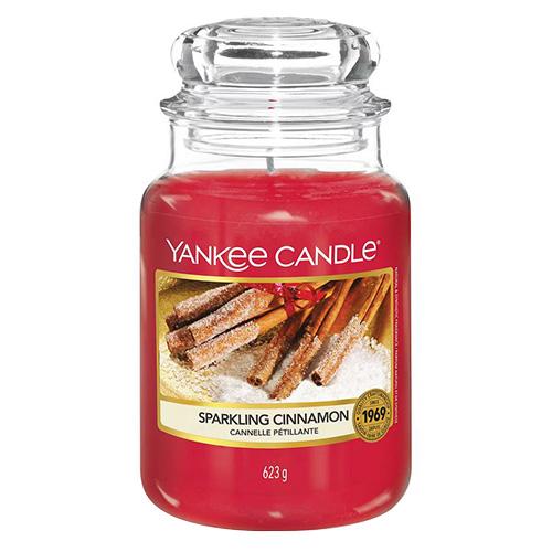 Svíčka ve skleněné dóze Yankee Candle Třpytivá skořice, 623 g