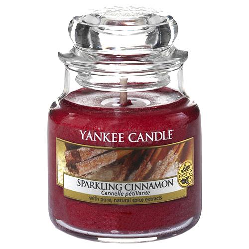 Svíčka ve skleněné dóze Yankee Candle Třpytivá skořice, 104 g